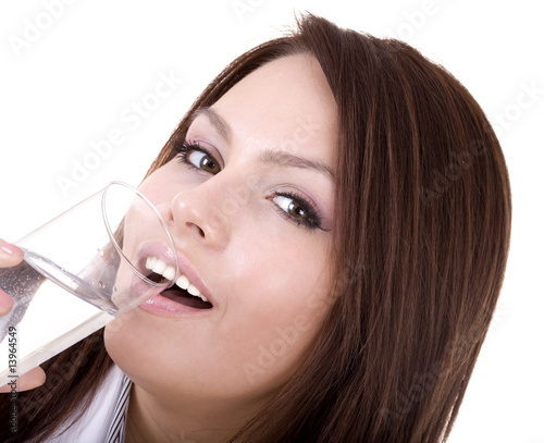 Woman with glass of water.