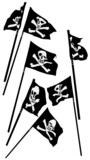 pirate flags with skull and crossbones waving, collection poster