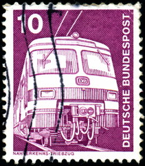Deutsche bundespost. Train électrique. Timbre postal.