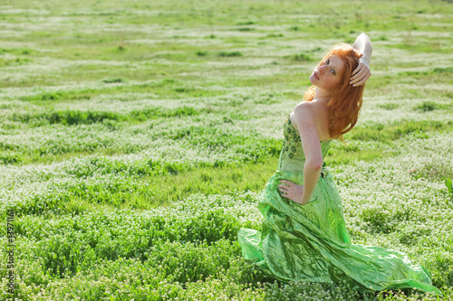 Fashion model in field
