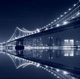 Manhattan  Bridge and Manhattan skyline At Night - 13972196