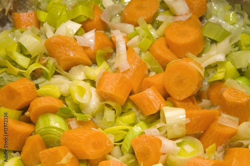 Chopped carrots, leeks and onions