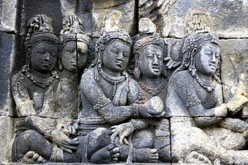 Bas-Relief at Borobudur Temple, Indonesia