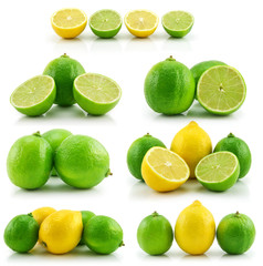 Collection of Ripe Lime and Lemon Isolated on White