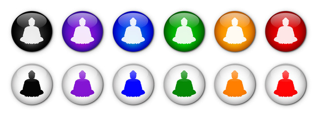 """""""Buddha"""" buttons (x12 - various colours)"""