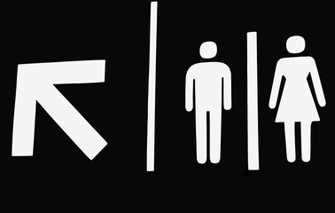 Washroom sign with arrow
