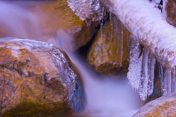 Ice build-up on river in Jasper National Park, Alberta