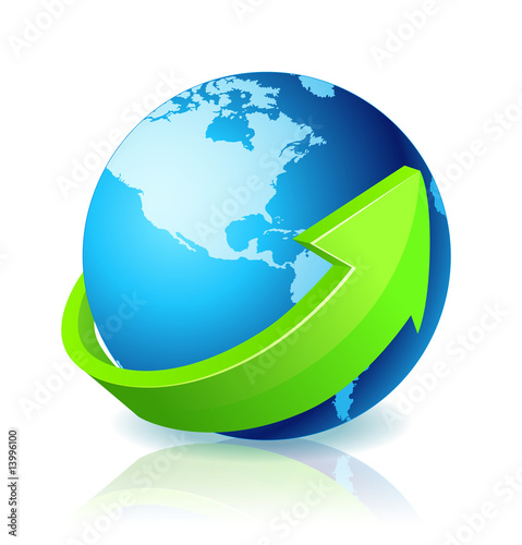 World Globe Go Green - North America
