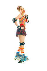 woman with roller skates