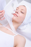 cosmetic procedure with  moisturize mask poster