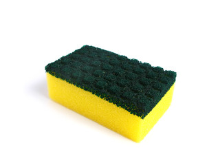 Kitchen sponge in a white background