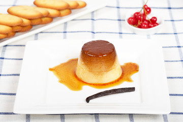 Cream caramel dessert and cookies