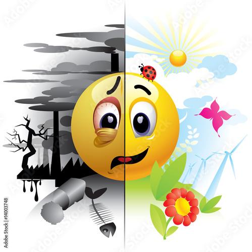 Smiley ball wysyłanie wiadomości o zanieczyszczeniu