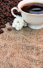 Cup of coffe, white flowers