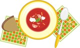 Dish with vegetable soup. Dinner. Vector poster