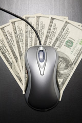 Computer mouse and $100 dollar bills