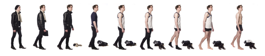 Man taking his clothes of step by step