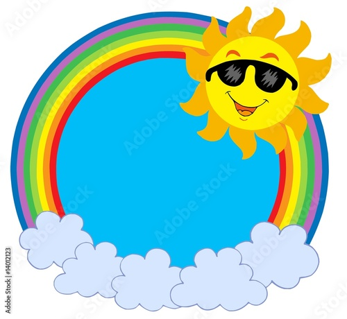 cartoon sun rays. Cartoon Sun with sunglasses in