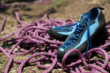 Climbing shoes and  cord