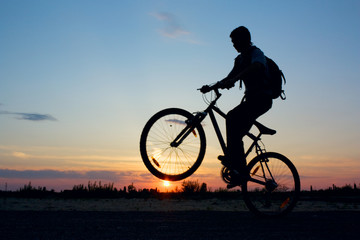 bicyclist in the sunset