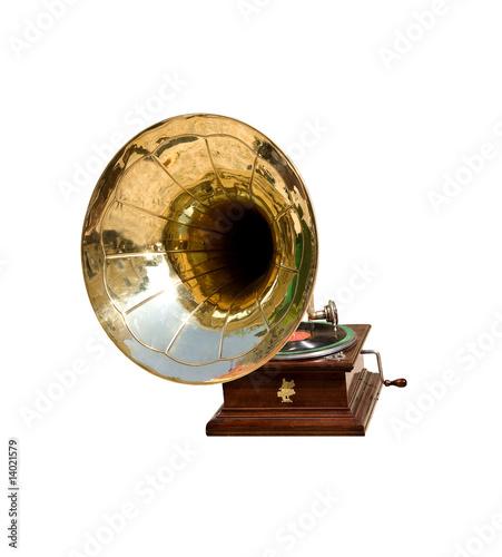 Retro gramophone isolated