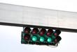 Leinwanddruck Bild - Grüne Rennsportampel mit leerer Bannerfläche