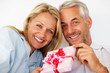 Romantic senior couple holding a gift