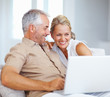 An attractive senior couple enjoying while working on a laptop