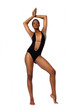 African American woman in swimsuit