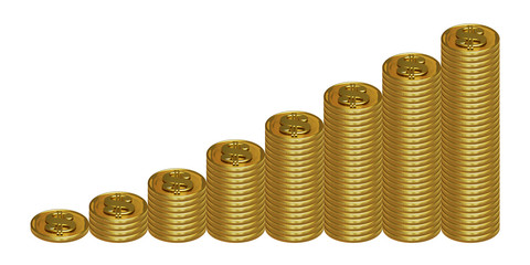 eight columns of golden dollar coins