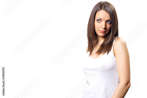 Young pretty woman, brunette with blue eyes in white sport short