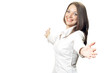 Office woman in white shirt extend hands