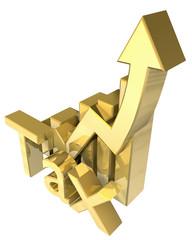 Tax statistics graphic in gold