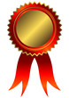 Golden medal with red ribbon (vector)