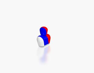 abstrakte Figur mit Flagge Russland