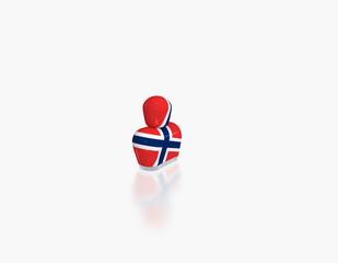 abstrakte Figur mit Flagge Norwegen