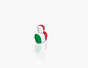 abstrakte Figur mit Flagge Italien