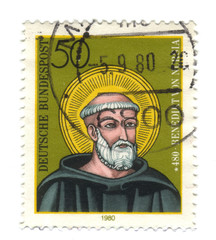 Old canceled german stamp with Benedict of Nursia