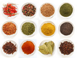 Variety of different spices in bowls