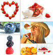 Collage of fresh summer fruits on white