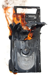 burning computer case