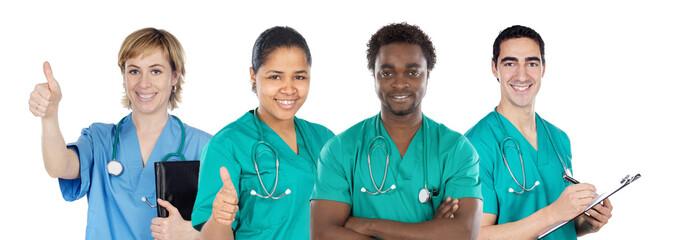 Medical team of four doctors