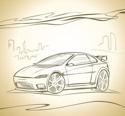 Modern Car Concept Handdrawing  sketch