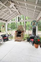 outdoor patio and pizza oven
