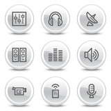 Media web icons, white glossy circle buttons series