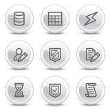 Database web icons, white glossy circle buttons series poster