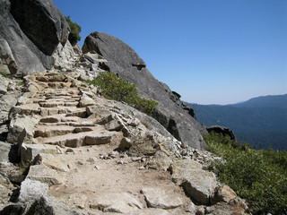 Rock stairs on Chilnualna Falls Trail in Yosemite