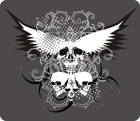 skull grey with wings