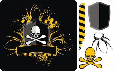 skull yellow - black