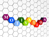 motivation in colour hexahedrons in cellular structure poster